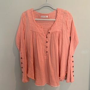 NWT Free People Sand Dune Textured Peach Henley